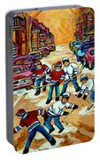 Pointe St.charles Hockey Game Winter Street Scenes Paintings Portable Battery Charger