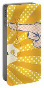 Pointing Finger Pop Art Vector Portable Battery Charger