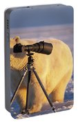 Polar Bear Investigating Photographers Portable Battery Charger
