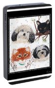 Polka Dot Family Pets With Borders - Whimsical Art Portable Battery Charger