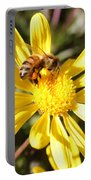 Pollen-laden Bee On Yellow Daisy Portable Battery Charger