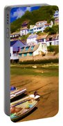 Polperro At Low Tide Portable Battery Charger by David Smith