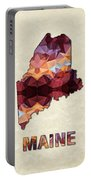 Polygon Mosaic Parchment Map Maine Portable Battery Charger