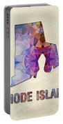 Polygon Mosaic Parchment Map Rhode Island Portable Battery Charger