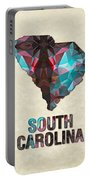 Polygon Mosaic Parchment Map South Carolina Portable Battery Charger