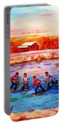 Pond Hockey Game By Montreal Hockey Artist Carole Spandau Portable Battery Charger