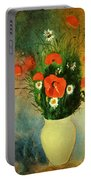 Poppies And Daisies Portable Battery Charger by Odilon Redon