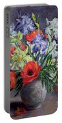 Poppies And Irises Portable Battery Charger