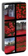 Poppies At The Tower Collage Portable Battery Charger