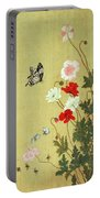 Poppies, Butterflies And Bees Ink And Colour On Silk Portable Battery Charger