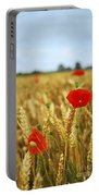 Poppies In Grain Field Portable Battery Charger