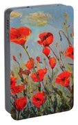 Poppies In The Wind Portable Battery Charger