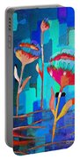 Poppies On Blue 1 Portable Battery Charger