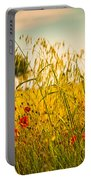 Poppies With Tree In The Distance Portable Battery Charger