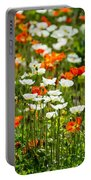 Poppy Fields - Beautiful Field Of Spring Poppy Flowers In Bloom. Portable Battery Charger