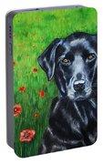 Poppy - Labrador Dog In Poppy Flower Field Portable Battery Charger