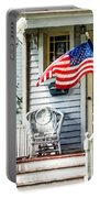 Porch With Flag And Wicker Chair Portable Battery Charger