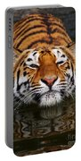 Portrait Of A Bathing Siberian Tiger Portable Battery Charger