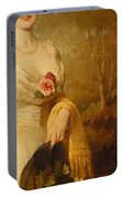 Portrait Of A Lady In A White Dress Portable Battery Charger