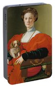 Portrait Of A Lady With A Lapdog Portable Battery Charger