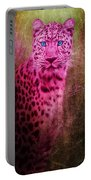 Portrait Of A Pink Leopard Portable Battery Charger
