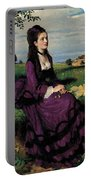 Portrait Of A Woman In Lilac Portable Battery Charger