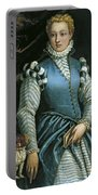 Portrait Of A Woman With A Dog Portable Battery Charger
