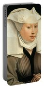 Portrait Of A Woman With A Winged Bonnet Portable Battery Charger