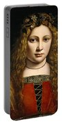 Portrait Of A Youth Crowned With Flowers Portable Battery Charger by Giovanni Antonio Boltraffio