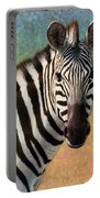 Portrait Of A Zebra - Square Portable Battery Charger