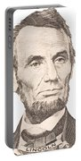 Portrait Of Abraham Lincoln On White Background Portable Battery Charger