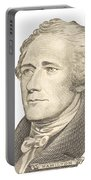 Portrait Of Alexander Hamilton On White Background Portable Battery Charger