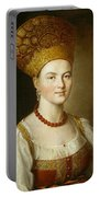 Portrait Of An Unknown Woman In Russian Costume Portable Battery Charger