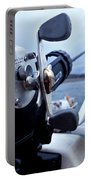 Portrait  Of Fishing Reel On Boat While Portable Battery Charger