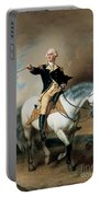 Portrait Of George Washington Taking The Salute At Trenton Portable Battery Charger