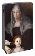 Portrait Of Maria Salviati De' Medici With Giulia De' Medici Portable Battery Charger