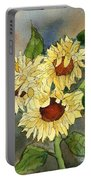 Portrait Of Sunflowers Portable Battery Charger