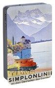 Poster Advertising Rail Travel Around Lake Geneva Portable Battery Charger