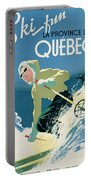 Poster Advertising Skiing Holidays In The Province Of Quebec Portable Battery Charger by Canadian School