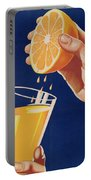 Poster With A Glass Of Orange Juice Portable Battery Charger
