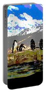 Posterized Penguins Line Dance Portable Battery Charger
