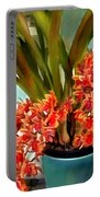 Pot Of Rust Orange Orchids Portable Battery Charger
