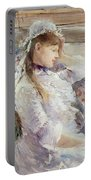 Profile Of A Seated Young Woman Portable Battery Charger by Berthe Morisot