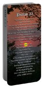 Psalm 23 Prayer Over Sunset Landscape Portable Battery Charger by Christina Rollo