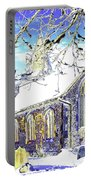 Psychedelic English Village Church In Winter Portable Battery Charger