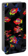 Psychedelic Flying Fish With Psychedelic Reflections Portable Battery Charger