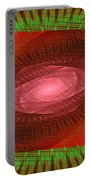 Psychedelic Spiral Vortex Green And Red Fractal Flame Portable Battery Charger by Keith Webber Jr