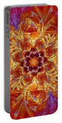 Psychedelic Spiral Vortex Red Orange And Blue Fractal Flame Portable Battery Charger by Keith Webber Jr
