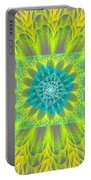 Psychedelic Spiral Vortex Yellow And Gray Fractal Flame Portable Battery Charger