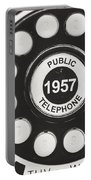 Public Telephone 1957 In Black And White Retro Portable Battery Charger